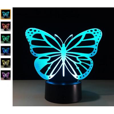 "3D светильник ""Butterfly"" 7 цветов подсветки"