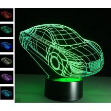 """3D светильник """"Суперкар"""" 7 цветов автономный"""