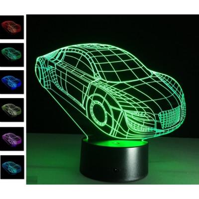 """3D светильник """"Суперкар"""" 7 цветов подсветки автономный - питание от батареек или USB"""