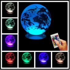 """3D светильник """"Earth"""" с пультом"""