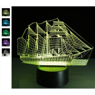 """3D светильник """"Корабль"""" 7 цветов подсветки автономный - питание от батареек или USB"""