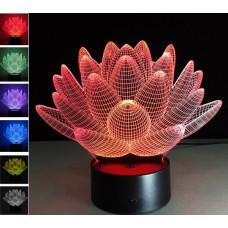"""3D светильник """"Лотос"""" 7 цветов автономный"""