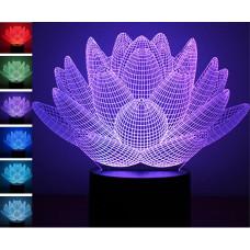 """3D светильник """"Лотос"""" 7 цветов"""