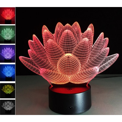 """3D светильник """"Лотос"""" 7 цветов подсветки автономный - питание от батареек или USB"""