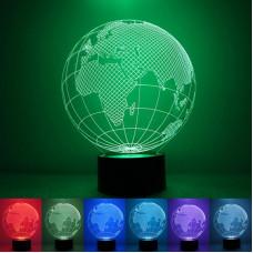 """3D светильник """"Планета Земля"""" 7 цветов"""