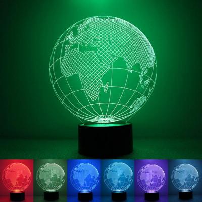 """3D светильник """"Планета Земля"""" 7 цветов подсветки"""