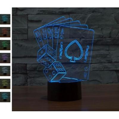 """3D светильник """"Покер"""" 7 цветов подсветки автономный - питание от батареек или USB"""