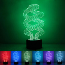 """3D светильник """"Спираль"""" 7 цветов"""