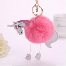 Брелок розовый Единорог меховой