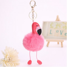 Брелок розовый Фламинго меховой