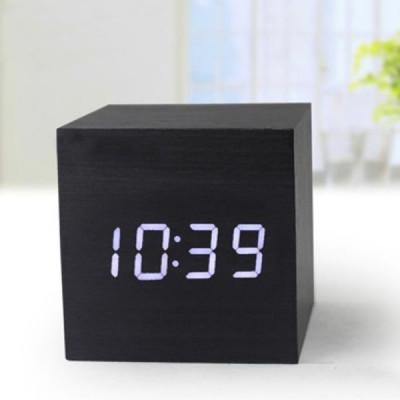 """Часы-будильник """"Деревянный Куб"""" венге/белый"""