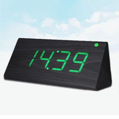 """Часы-будильник """"Пирамида"""" 21 см венге/зеленый"""