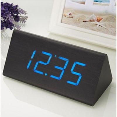 """Часы-будильник """"Пирамида"""" 21 см венге/синий"""