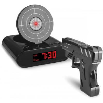 Будильник-мишень с пистолетом (черный)
