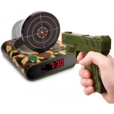 Будильник-мишень с пистолетом (хаки)