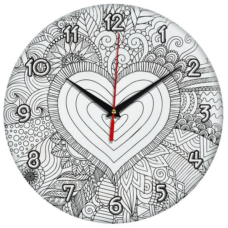 Настенные часы-раскраска Сердце купить в магазине Главчудо