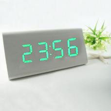 "Часы-будильник ""Пирамида"" 12 см белый/зеленый"