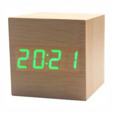 """Часы-будильник """"Деревянный Куб"""" бамбук/зеленый"""