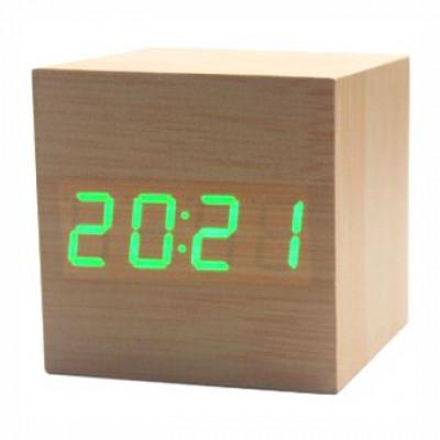 """Часы-будильник """"Деревянный Куб"""" светлый бамбук зеленые цифры"""