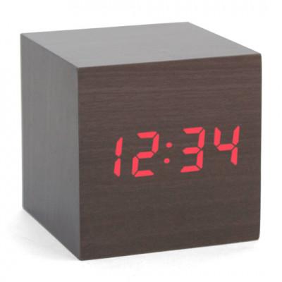 """Часы-будильник """"Деревянный Куб"""" черное дерево красные цифры"""
