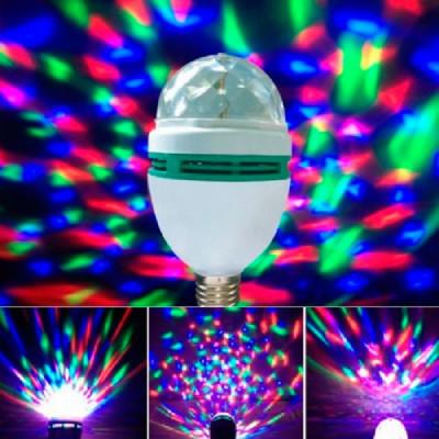 Вращающаяся разноцветная LED лампа в патрон + переходник под розетку