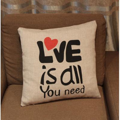 """Наволочка декоративная """"Love is all you need"""" Лён"""