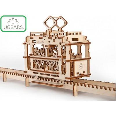 Конструктор Механический 3D-пазл UGears Трамвай с рельсами