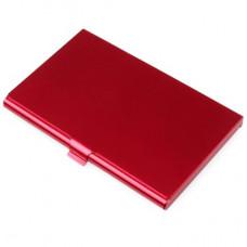 Визитница-футляр металлическая, красная
