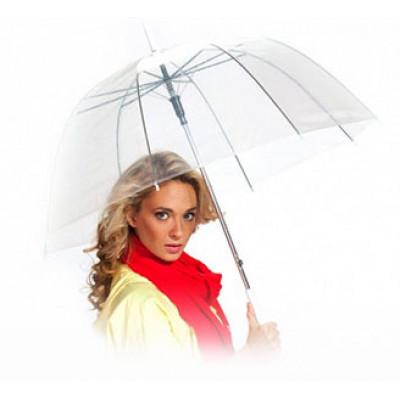 Зонт-трость с прозрачным куполом