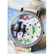 """Часы наручные """"Summer cats"""" Mini. Сделаны вручную. Корея"""