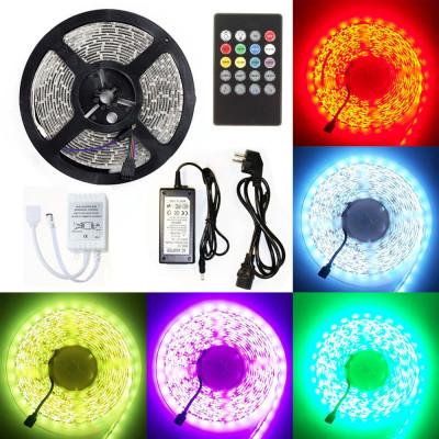 Набор: Светодиодная лента 5050 (яркая) SMD IP33 RGB (многоцветная) 5 метров, пульт, адаптер и музыкальнй контроллер