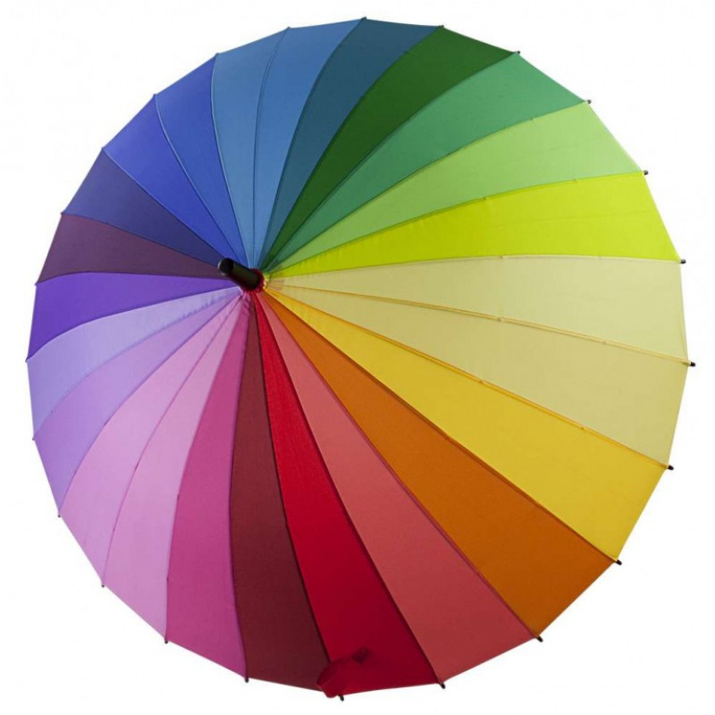 Зонт радуга 24 цвета трость механический купить