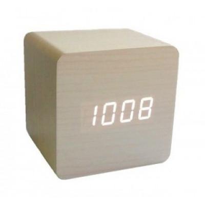 Настольные часы в деревянном корпусе со светодиодным дисплеем. С календарем и термометром.