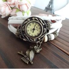 """Часы наручные винтажные """"Сова"""" на кожаном плетеном ремешке ручной работы"""