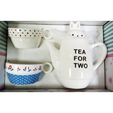 """Чайный набор для двоих """"Зайка моя"""" синий"""