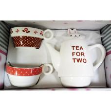 """Чайный набор для двоих """"Зайка моя"""" бордо"""