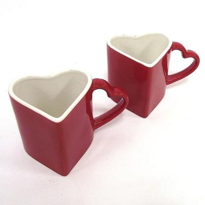 Кружку двойную сердце красное с белым