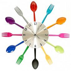"""Настенные часы """"Ложки и вилки"""" (Цветные) Металл"""