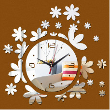 "Настенные часы зеркальные ""цветочки"""