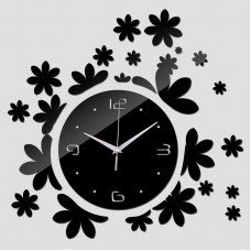 """Настенные часы зеркальные черные """"цветочки"""""""