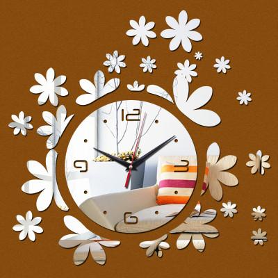 """Настенные часы зеркальные """"цветочки"""" (материал безопасный акрил)"""