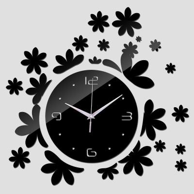 """Настенные часы зеркальные черные """"цветочки"""" (материал безопасный акрил)"""