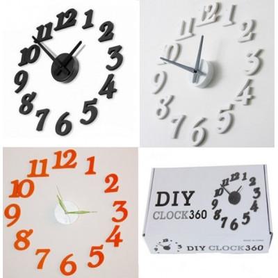 Настенные оригинальные часы «Парящие Цифры» самоклеющиеся. Белые/Черные/Оранжевые.