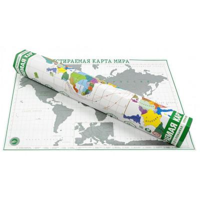 Стираемая карта мира «Премиум» А2 в шестигранном зеленом тубусе + сертификат на фотокнигу в подарок