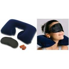 Дорожный СУПЕР-НАБОР 3в1: Подушка надувная, Беруши, Очки для сна