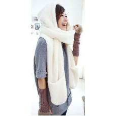 Шапка-шарф с перчатками (белая)