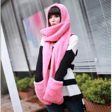 Шапка-шарф с перчатками (розовая)