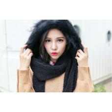 Шапка-шарф с перчатками (черная)