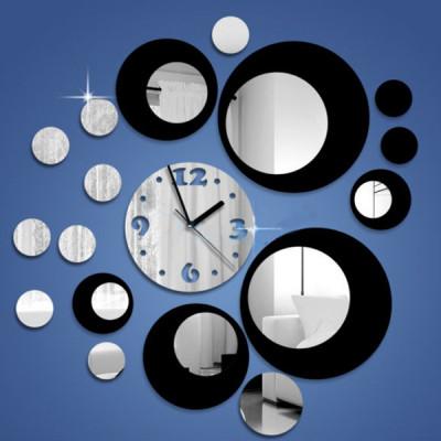 """Настенные часы """"круги"""" зеркальные с черным"""