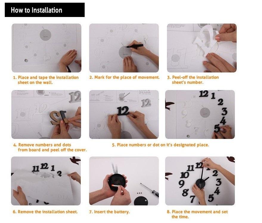инструкция к самоклеящимся часам
